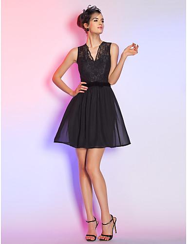 on sale 8ca60 7a724 [$99.99] Linea-A / Fasciante A V Corto / mini Chiffon / Di pizzo Abitino  nero Cocktail Vestito con Fiocco (fiocchi) di TS Couture®