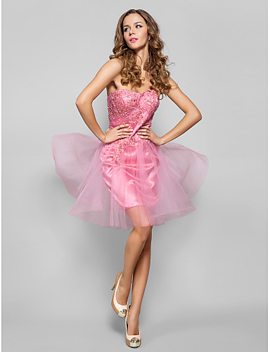 2461938ca2a Cocktail Party   Homecoming   Holiday Dress - Candy Pink Plus Sizes    Petite Sheath Column Sweetheart Short Mini Tulle   Stretch Satin 1059819  2019 –  99.99