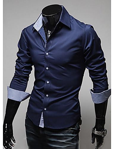 voordelige Herenoverhemden-Heren Overhemd Effen Donkerblauw / Lange mouw