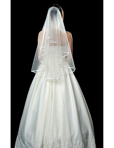 cheap Wedding Veils-One-tier Ribbon Edge Wedding Veil Fingertip Veils with 53.15 in (135cm) Tulle A-line, Ball Gown, Princess, Sheath / Column, Trumpet / Mermaid