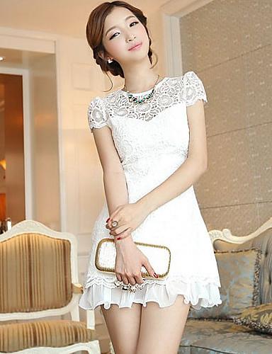 Super Star Kvinnors Elegant Broderi Spets Solid Color Kortärmad klänning ( vit) 1295293 2019 –  8.39 85dbc68ab22e6