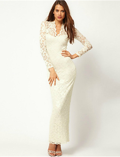κομψό ν γιακά δαντέλα bodycon μέση δάφνη γυναικών φόρεμα μακρύ μανίκι  (λευκό) (m   UF10   FR38   de36   US6) 1277270 2019 –  5.24 8ca23debf1a