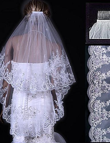 b02acec58d Two-tier Lace Applique Edge Wedding Veil Fingertip Veils with 31.5 ...