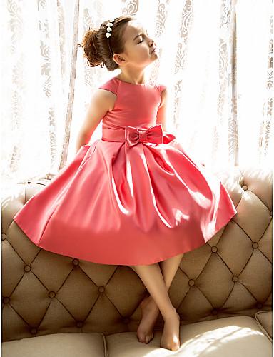 preiswerte Kleider für alle Tage-A-Linie / Prinzessin Tee-Länge Blumenmädchenkleid - Satin Kurzarm Schmuck mit Schleife(n) durch LAN TING BRIDE®