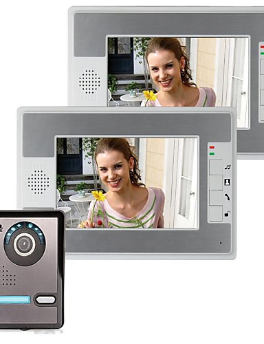 cheap Clearance Deals-7 Inch IP Video Door Phone Doorbell Intercom Entry System with 2 Monitor +1 IR Camera Night Vision 420 TVLine Support Remote unlocking Handfree