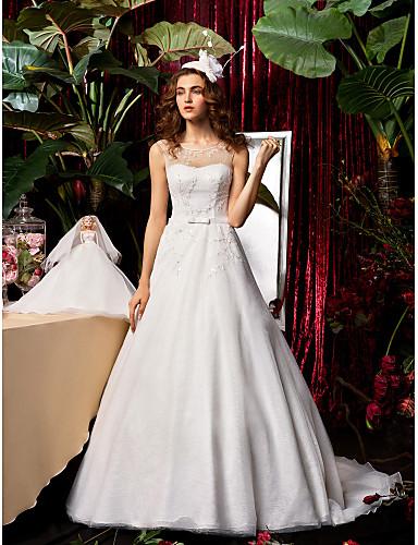 cheap Wedding Dresses-A-Line Wedding Dresses Jewel Neck Sweep / Brush Train Chiffon Lace Sleeveless See-Through with Bowknot Sash / Ribbon Beading 2020