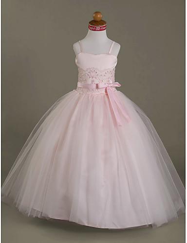 Ball Gown Floor Length Flower Girl Dress - Satin / Tulle Sleeveless Spaghetti Strap / Sweetheart Neckline Beading / Appliques / Bow(s) LAN TING BRIDE® / Wedding Party / Spring / Summer / Fall