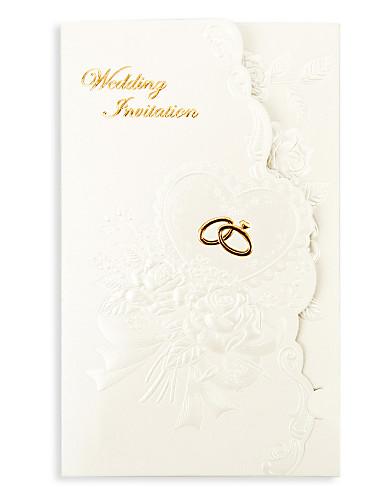"""preiswerte Spezial Angebote-Dreifach gefaltet Hochzeits-Einladungen 50 - Einladungskarten Geblühmter Style Perlenpapier 7 1/5""""×5"""" (18.4*12.8cm)"""