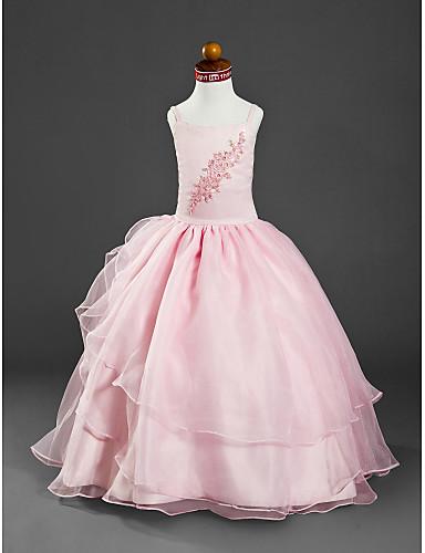 Ball Gown Floor Length Flower Girl Dress - Organza / Satin Sleeveless Spaghetti Strap Beading / Appliques LAN TING BRIDE® / Spring / Summer / Fall / Winter / Wedding Party