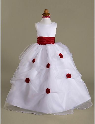 Ball Gown Floor Length Flower Girl Dress - Satin Sleeveless Scoop Neck Pick Skirt / Side Draping / Ruffles LAN TING BRIDE® / Spring / Fall / Winter / First Communion / Wedding Party