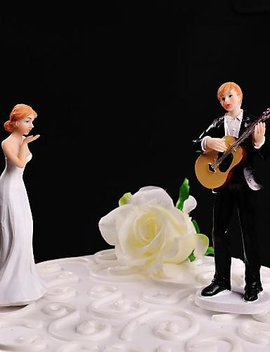 preiswerte Spezial Angebote-Tortenfiguren & Dekoration Nicht-personalisierte Klassisches Paar Harz Hochzeit Weiß / Schwarz Blumen Thema / Klassisches Thema