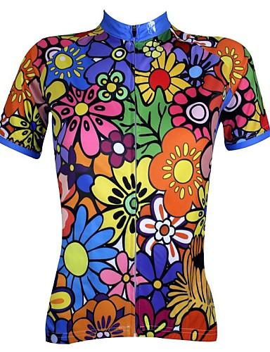 povoljno Biciklističke majice-ILPALADINO Žene Kratkih rukava Biciklistička majica Blue Green + purpurna boja Plava Cvjetni / Botanički Veći konfekcijski brojevi Bicikl Biciklistička majica Majice Brdski biciklizam biciklom na