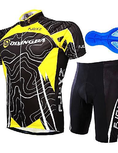 povoljno Odjeća za vožnju biciklom-FJQXZ Muškarci Kratkih rukava Biciklistička majica s kratkim hlačama Yellow / Black Dungi Bicikl Sportska odijela Prozračnost Quick dry Anatomski dizajn Ultraviolet Resistant Sportski Dungi Brdski