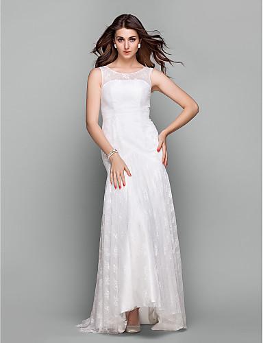 [$99.99] Formal Evening Dress - Ivory Plus Sizes / Petite Trumpet/Mermaid  Jewel Sweep/Brush Train Lace