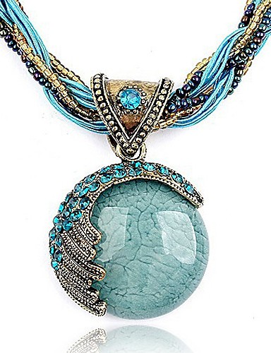 cheap Women's Accessories-Women's Turquoise Pendant Necklace Twisted Bohemian European Fashion Boho Alloy Black Brown Green Red Blue 42+5 cm Necklace Jewelry 1pc For Party Birthday Gift Daily Casual