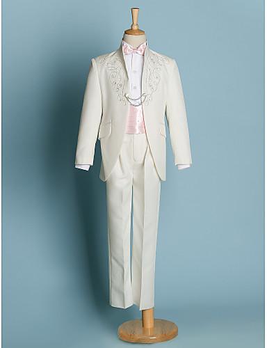 preiswerte Gentleman in Weiß-Elfenbein / Schwarz Polyester Ring-Träger Anzug - 5 Enthält Jacket / Schärpe / Hemd