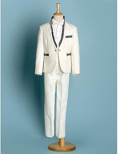 preiswerte Gentleman in Weiß-Polyester Ring-Träger Anzug - 5 Stücke Enthält Jacke / Hemd / Hosen / Schärpe / Halsband