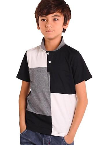 preiswerte Mode für Jungen-Schachbrett Kurzarm Standard Baumwolle T-Shirt Schwarz