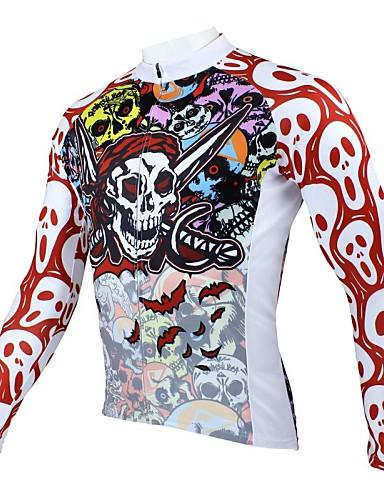 povoljno Biciklističke majice-ILPALADINO Muškarci Dugih rukava Biciklistička majica Red and White purpurna boja žuta Lubanje Bicikl Biciklistička majica Majice Brdski biciklizam biciklom na cesti Ugrijati Prozračnost Quick dry