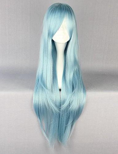 povoljno Anime cosplay-SAO Alicizacija Asuna Yuuki Cosplay Wigs Žene 34 inch Otporna na toplinu vlakna Plava Anime
