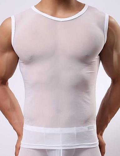 38b06c1f3308da Koszulka męska bez rękawów Przezroczyste Gaza Bez rękawów dekolt szerokie  ramiona męska Sexy Vest 1571054 2019 – $5.99