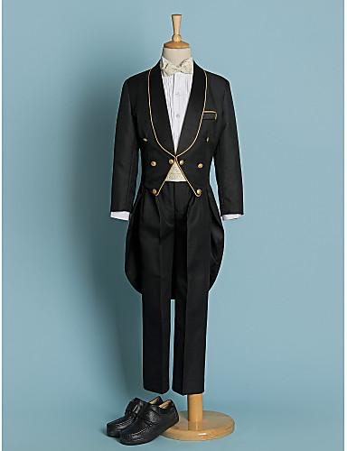 preiswerte Anzüge-Elfenbein Schwarz Polyester Ring-Träger Anzug - 5 Enthält Jacket Hose Schärpe Hemd Fliege