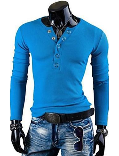 voordelige Heren T-shirts & tanktops-Heren Grote maten - T-shirt Sport Effen Ronde hals Slank donkergrijs / Lange mouw