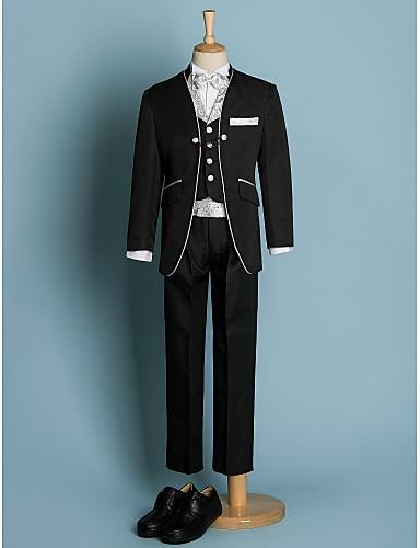 preiswerte Anzüge-Elfenbein / Schwarz Polyester Ring-Träger Anzug - 6 Stück Enthält Jacket / Schärpe / Weste