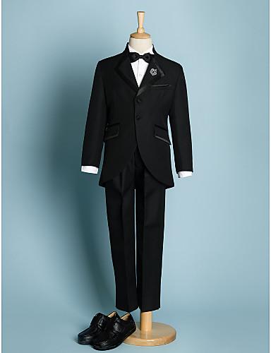 preiswerte Anzüge-Elfenbein / Schwarz Polyester Ring-Träger Anzug - 5 Stück Enthält Jacket / Schärpe / Hemd