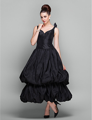 cheap Cocktail Dresses-Ball Gown 1950s Vintage Inspired Holiday Cocktail Party Prom Dress V Neck Ankle Length Taffeta with Pick Up Skirt 2020