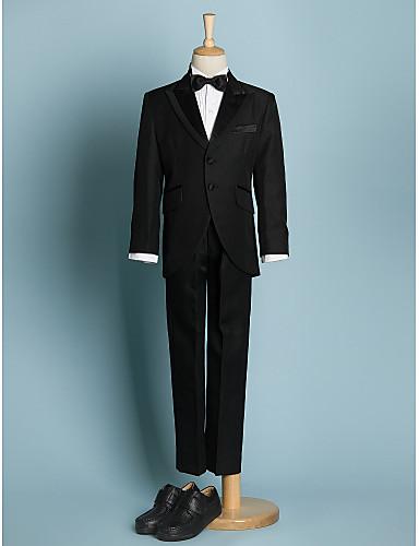 preiswerte Anzüge-Elfenbein / Schwarz Polyester Ring-Träger Anzug - 5 Enthält Jacket / Schärpe / Hemd