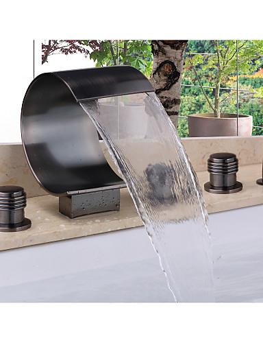 preiswerte Seitendüse-Badewannenarmaturen - Moderne Öl-riebe Bronze Badewanne & Dusche Keramisches Ventil Bath Shower Mixer Taps / Messing / Zwei Griffe Fünf Löcher