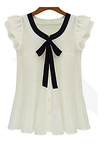 billige Dametopper-Store størrelser Skjorte Dame - Lapper Hvit / Sommer / Drapering