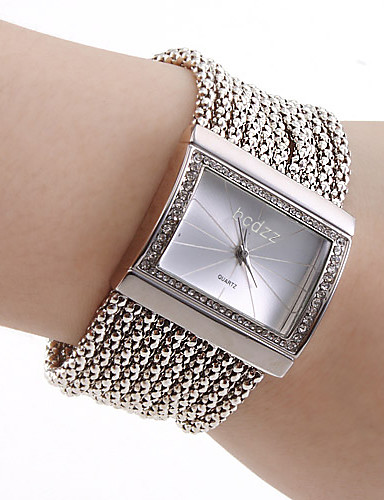 cheap Bracelet Watches-Women's Ladies Luxury Watches Bracelet Watch Square Watch Japanese Quartz Copper Silver Casual Watch Analog Luxury Sparkle Fashion Elegant - Golden Silver One Year Battery Life / Stainless Steel