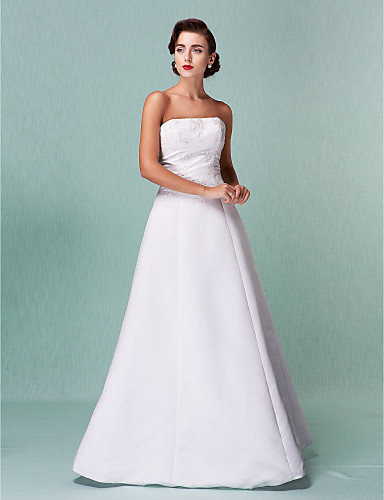 cheap Wedding Dresses Under $200-A-Line Strapless Floor Length Lace Over Satin Made-To-Measure Wedding Dresses with Lace by LAN TING BRIDE® / Open Back