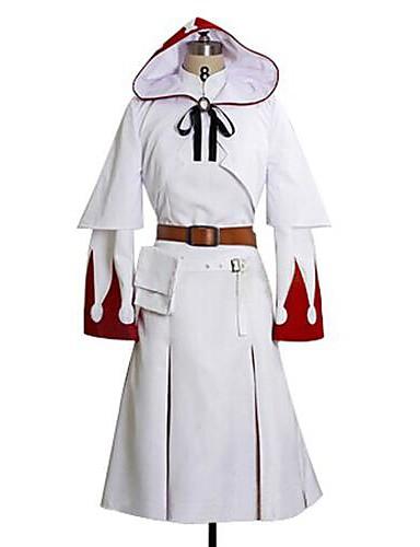 preiswerte Videospiel-Kostüme-Inspiriert von Final Fantasy White Mage Video Spiel Cosplay Kostüme Cosplay Kostüme Druck Langarm Kleid Umhang Gürtel Kostüme