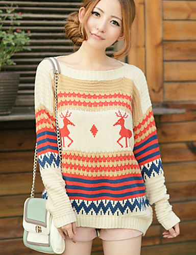 9a7dcae1 Yedda koreansk vinteren tilfeldig hjort mønster strikket genser 506836cream  2060354 2019 – $0.98