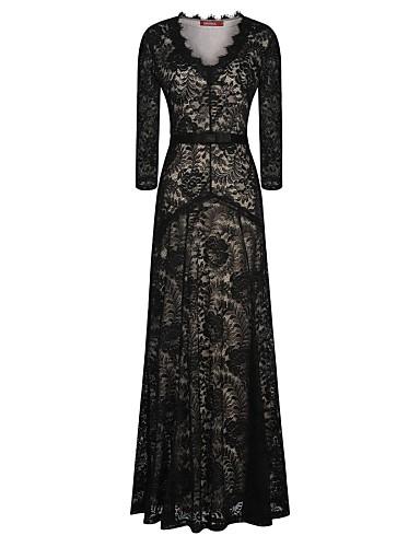 Γυναικεία Φόρεμα Δαντέλα Βαθύ V Μακρύ Μακρυμάνικο Πολυεστέρας   Spandex  2012156 2019 –  34.64 84c453c2d2a