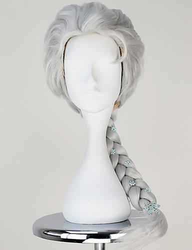 povoljno Maske i kostimi-Princeza Fairytale Elsa Cosplay Wigs Žene Pletenica 60CM Otporna na toplinu vlakna Srebrna plavuša Pink Bež Zlatan Anime / Princess Lolita