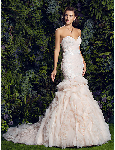 cheap Wedding Dresses-Mermaid / Trumpet Sweetheart Neckline Court Train Tulle / Corded Lace Strapless Vintage / Sexy Illusion Detail Wedding Dresses with Appliques / Cascading Ruffles 2020