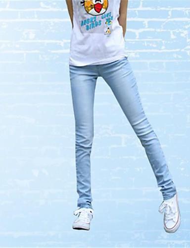 Dámské Klasické   nadčasové Bavlna Upnuté   Kalhoty   Legíny Kalhoty -  Jednobarevné   Pevná barva Klasický styl Modrá   Džíny 2019722 2019 –  13.64 fe68025494