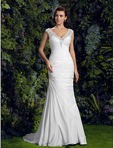 cheap Wedding Dresses-Mermaid / Trumpet V Neck Court Train Charmeuse / Beaded Lace Cap Sleeve Sexy See-Through / Backless Wedding Dresses with Beading / Appliques / Button 2020
