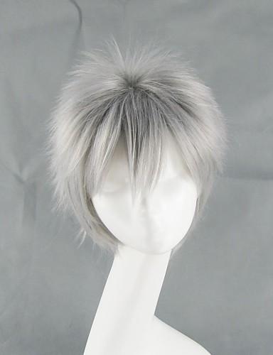 povoljno Maske i kostimi-Hetalia Prussia Gilbert Beilschmidt Cosplay Wigs Muškarci 14 inch Otporna na toplinu vlakna Sive boje Anime