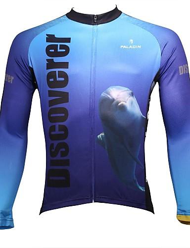 povoljno Odjeća za vožnju biciklom-ILPALADINO Muškarci Dugih rukava Biciklistička majica White+Sky Blue Životinja Bicikl Biciklistička majica Majice Brdski biciklizam biciklom na cesti Prozračnost Quick dry Ultraviolet Resistant