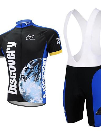 povoljno Biciklizam-XAOYO Muškarci Kratkih rukava Biciklistička majica s kratkim tregericama Dark Blue Bicikl Kratke hlače Biciklistička majica Sportska odijela Quick dry Povratak džep Sportski Poliester Priroda i