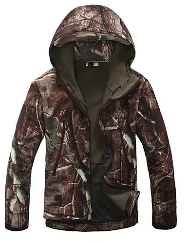 cheap Softshell, Fleece & Hiking Jackets-Men's Camouflage Hunting Jacket Camo / Camouflage Winter Outdoor Thermal / Warm Windproof Breathable Rain Waterproof Fleece Jacket Hoodie Softshell Jacket Camping / Hiking Hunting Fishing Tan