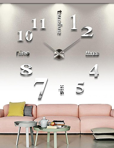 cheap Stay safe! Stay home!-Frameless Large DIY Wall Clock, Modern 3D Wall Clock with Mirror Numbers Stickers for Home Office Decorations Gift (Silver)