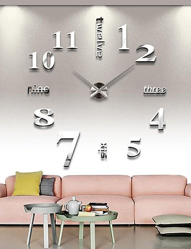 preiswerte Inneneinrichtungen-Rahmenlose große diy wanduhr, moderne 3d wanduhr mit spiegel zahlen aufkleber für home office dekorationen geschenk (silber)