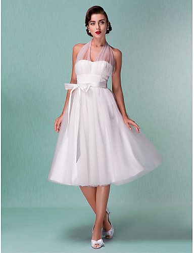 cheap Wedding Dresses Under $200-A-Line Halter Neck Knee Length Satin / Tulle Made-To-Measure Wedding Dresses with Bowknot / Sash / Ribbon by LAN TING BRIDE® / Little White Dress