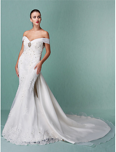 cheap Clearance-Mermaid / Trumpet Wedding Dresses Off Shoulder Chapel Train Organza Short Sleeve with Beading Appliques Crystal Floral Pin 2020 / Removable train
